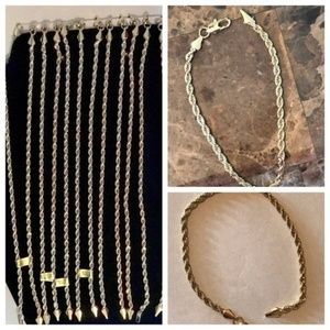 Jewelry - 8 inch Gold Plated  Rope Bracelet 3mm